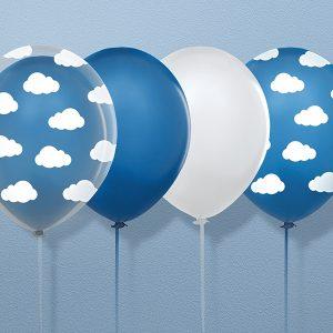 Μπαλόνια διάφανα με λευκά σύννεφα Little Plane 6τεμ.