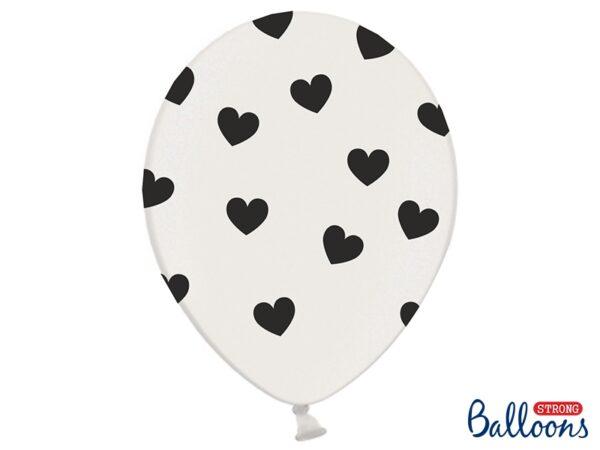 Μπαλόνια 30εκ. λευκά με μαύρες καρδιές 1τεμ.