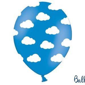 Μπαλόνια μπλε με λευκά σύννεφα Little Plane 6τεμ.