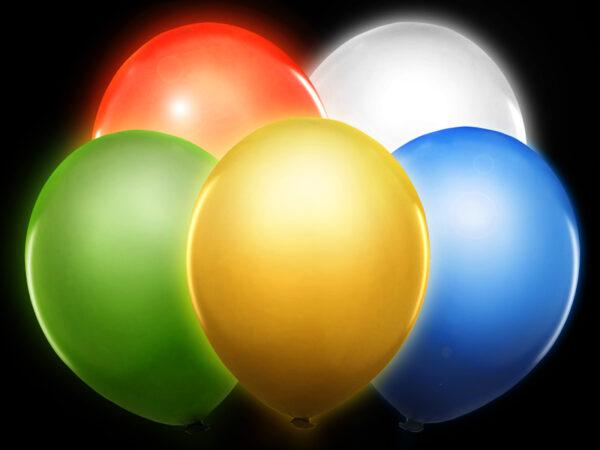 """Μπαλόνια πολύχρωμα 12"""" με φωτάκια LED 5τεμ."""