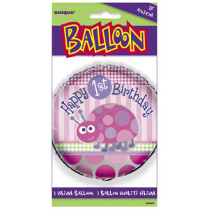 Μπαλόνι foil1st birthday lady bug ροζ 1τεμ.