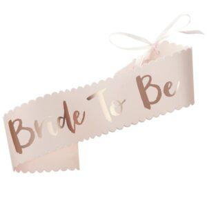 """Κορδέλα """"Bride To Be"""" Ροζ Χρυσή 1τεμ."""