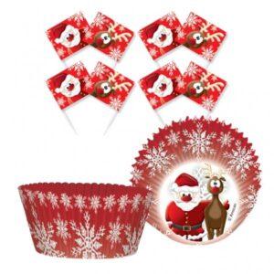 Θήκες για κεκάκια Christmas με σημαιάκια