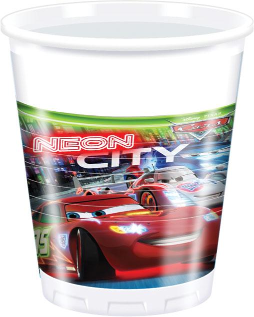 Ποτήρια πλαστικά 200ml Cars Neon 8τεμ.