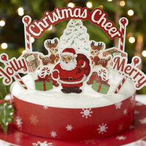 Διακοσμητικά Τούρτας Χριστουγεννιάτικα 11τεμ+Κορδέλα Περιτυλίγματος Τούρτας