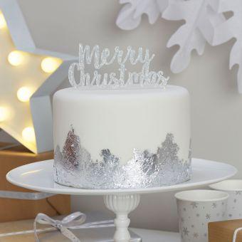 "Cake Topper Christmas Metallics ""Merry Christmas"""