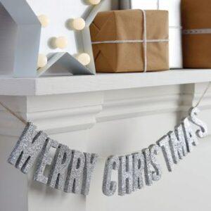 Ασημένια Ξύλινη Γιρλάντα Merry Christmas