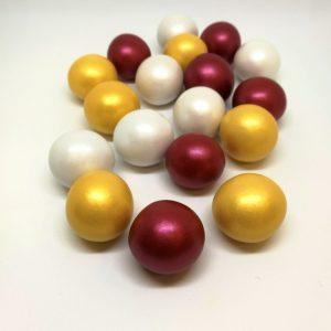 """Κουφέτο Crispy """"εορταστικό"""" χρυσό μεταλλιζέ-μπορντώ μεταλλιζέ-λευκό περλέ κουτί 350γρ."""