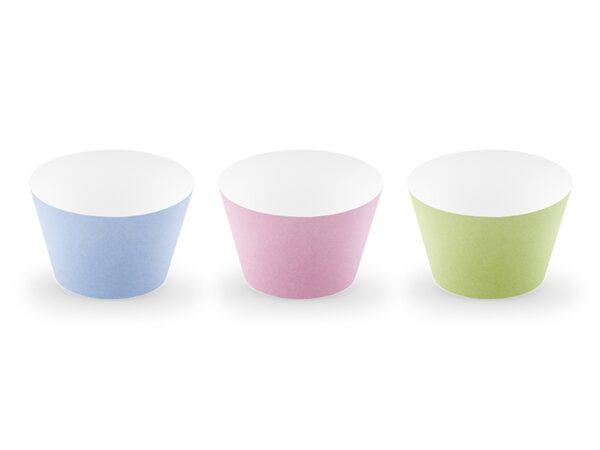 Cupcake Θήκες 3 Παστέλ Χρώματα 6τεμ.