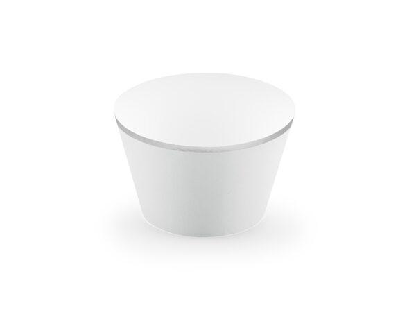 Cupcake Θήκες Λευκές με Ασημί Λεπτομέρειες 6τεμ.
