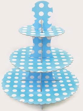 Cupcake Stand Τριόροφο Γαλάζιο 1 τεμ.