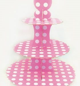 Cupcake Stand Τριόροφο Ροζ 1 τεμ.