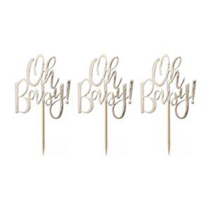 "Cupcake Sticks ""Oh Baby!"" Χρυσό 12τεμ."