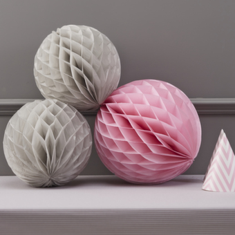 Honeycomb Μπάλες Διακοσμητικές Γκρι-Ροζ 3τεμ.