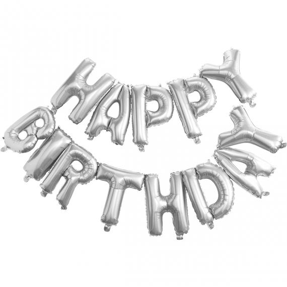 """Μπαλόνι Foil ασημί """"HAPPY BIRTHDAY"""" 14"""""""