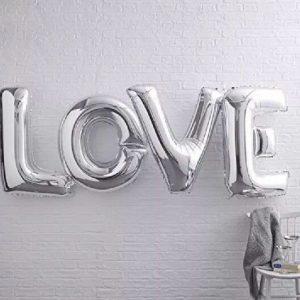 """Μπαλόνι Foil ασημί  """"LOVE"""" 14"""""""