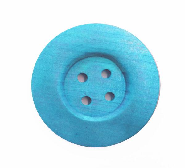 Ξύλινο κουμπί γίγας Γαλάζιο 6cm