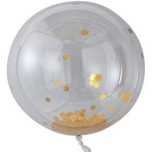 Γιγάντιο Μπαλόνι με Χρυσά κομφετί 3τεμ. 36''