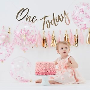 Ροζ και Χρυσό Σετ για Πρώτα Γενέθλια 9 τεμ.