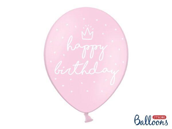 """Μπαλόνι Ροζ Παστέλ """"Happy Birthday"""" 1τεμ. 30εκ."""