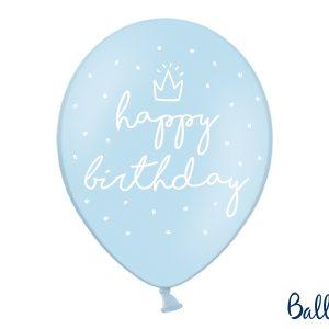 """Μπαλόνια Γαλάζιο """"Happy Birthday"""" 6τεμ. 30εκ."""