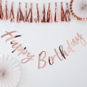 """Γιρλάντα Χάρτινη """"Happy Birthday"""" Ροζ Χρυσή 1,5m"""