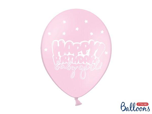 """Μπαλόνι Ροζ Παστέλ """"Happy Birthday baby girl"""" 1τεμ. 30εκ."""