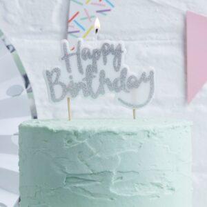"""Κερί Τούρτας ασημί """"HAPPY BIRTHDAY"""""""