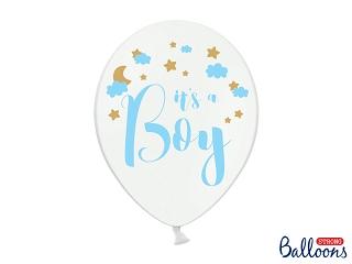 """Μπαλόνι Λευκό """"It''s a Boy"""" Γαλάζιο 1τεμ. 30εκ."""