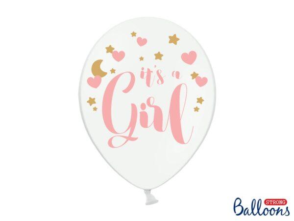 """Μπαλόνι Λευκό """"It''s a Girl"""" Ροζ 1τεμ. 30εκ."""