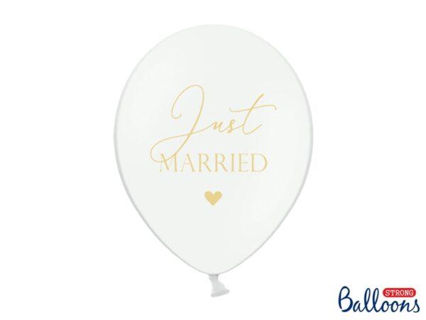 """Μπαλόνι Λευκό Παστέλ """"Just Married"""" Χρυσό 1τεμ. 30εκ."""