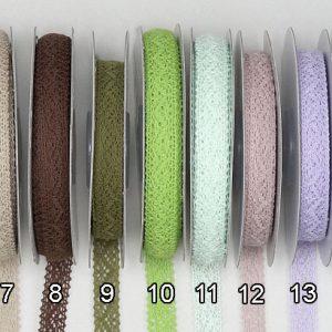 Κορδέλα Βαμβακερή Δαντέλα λεπτά μεγέθη 8mm, 12mm, 32mm σε ρολό 10m