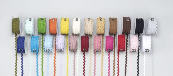 Κορδελάκι zig-zag χρωματιστό 8mm μπομπίνα 25m