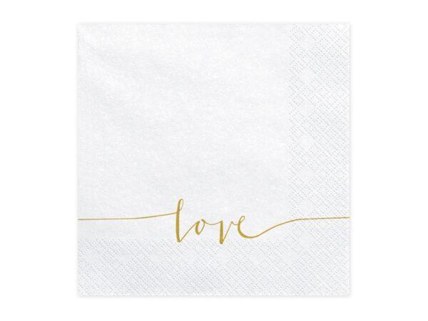 """Χαρτοπετσέτες Λευκές με Χρυσό """"LOVE"""" 20 τεμ."""