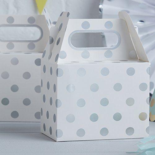 Κουτιά lunch box Λευκό Ασημί Πουά 5τεμ.