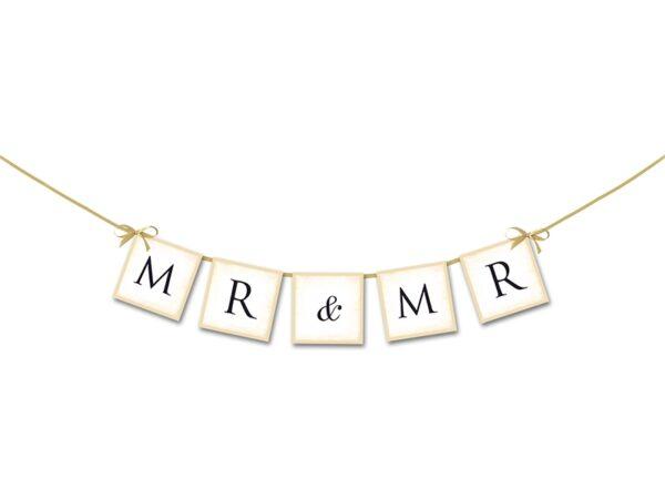 """Γιρλάντα Χάρτινη """"Mr&Mr"""" Λευκή 64 εκ."""