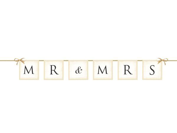 """Γιρλάντα Χάρτινη """"Mr&Mrs"""" Λευκή 77 εκ."""