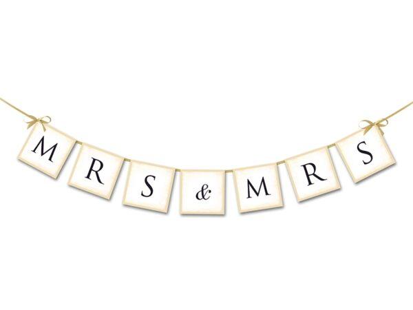 """Γιρλάντα Χάρτινη """"Mr&Mrs"""" Λευκή 90 εκ."""