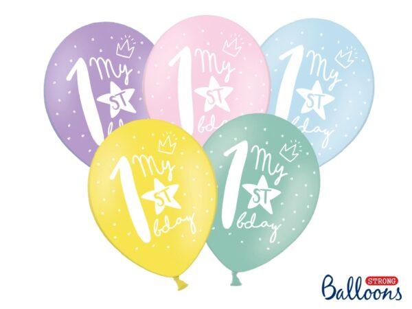"""Μπαλόνια """"My 1st Birthday"""" σε 5 χρώματα"""