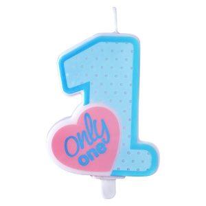 """Κεράκι γαλάζιο για πρώτα γενέθλια """"ONLY ONE"""""""