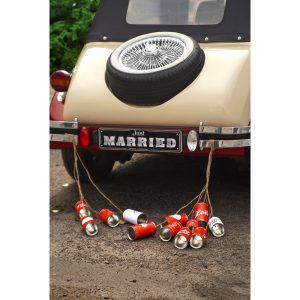 Τενεκεδάκια για το Αμάξι για Γάμο Retro 5 τεμ. 14 x 7 εκ.
