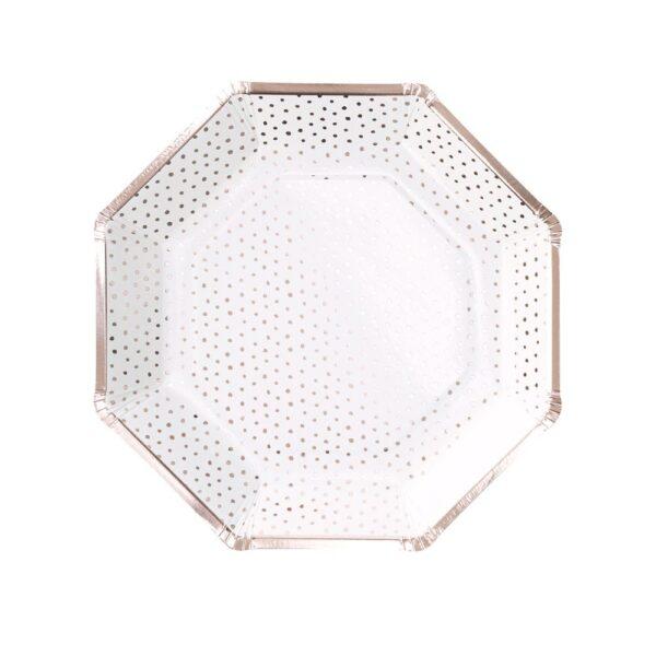 Πιάτα Πουά Φαγητού Χάρτινα Λευκά με Ρόζ Χρυσό 8τεμ.