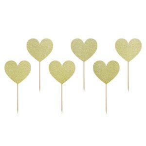 Χάρτινα Toppers για Cupcake Χρυσή Glitter Καρδιά 6 τεμ.