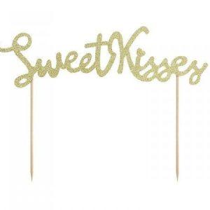 """Χάρτινο Topper για Τούρτα Χρυσό Glitter """"Sweet Kisses"""" 6 τεμ."""