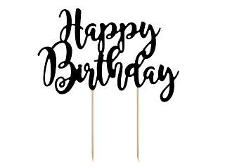 """Χάρτινο Topper για Τούρτα Μαύρο """"Happy Birthday"""""""