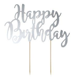 """Χάρτινο Topper για Τούρτα Ασημί """"Happy Birthday"""""""