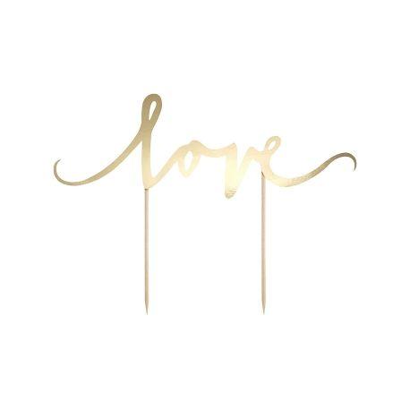 """Χάρτινο Topper για Τούρτα Χρυσό """"Love"""""""