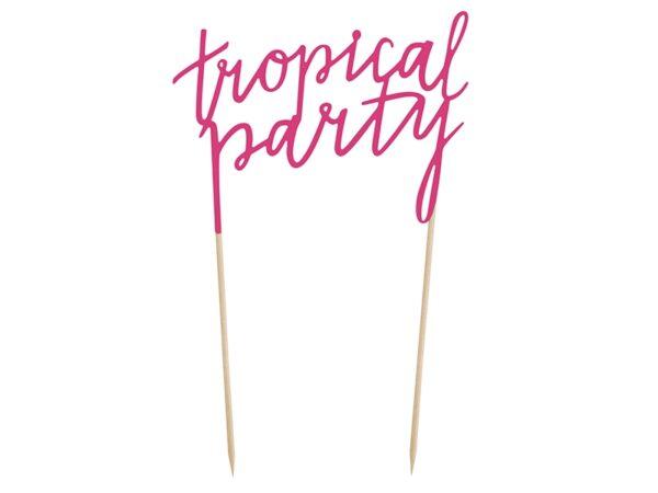 """Χάρτινο Topper για Τούρτα Ροζ """"Tropical Party"""""""