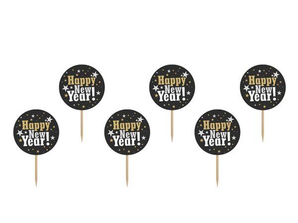 """Χάρτινα Toppers για Cupcake """"Happy New Year"""" 6 τεμ."""