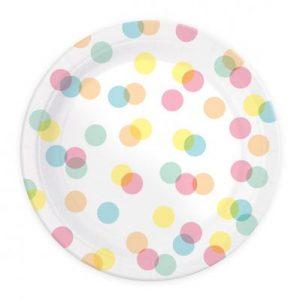Πιάτα φαγητού χάρτινα 23εκ. confettis 8τεμ.